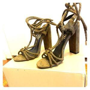 Brand new velvet khaki strappy sandals/ heels